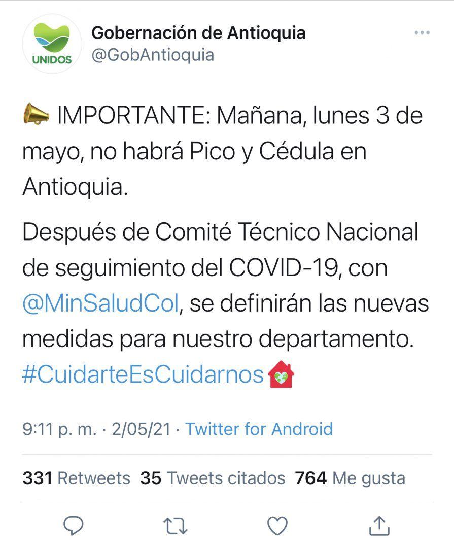 Trino gobernación de Antioquia